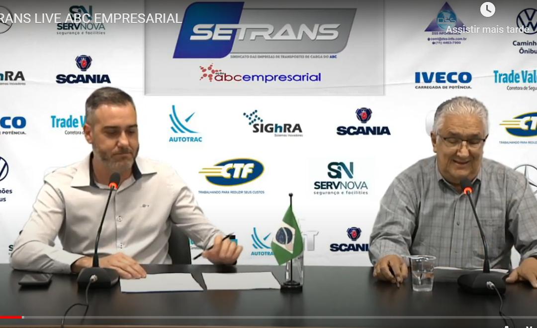 Live do SETRANS aborda efeitos da pandemia no TRC e no setor de veículos